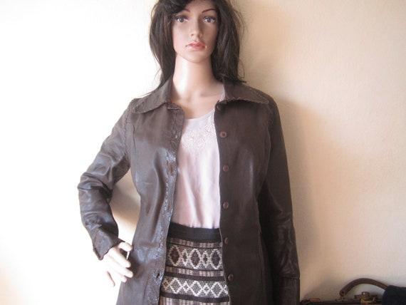 Vintage 70s Leather Jacket 70s Leather Shirt Jacke