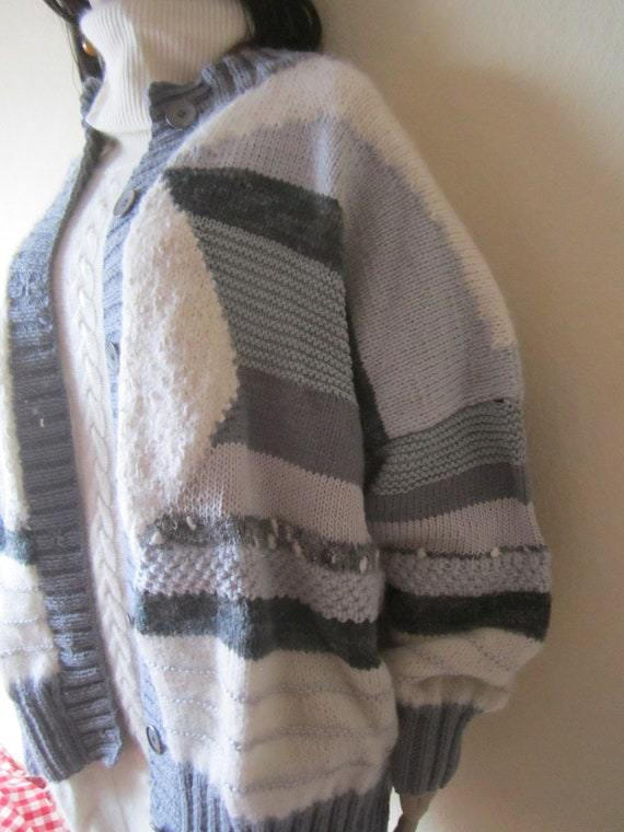Vintage Handmade Wool Cardigan Strickjacke Oversi… - image 4