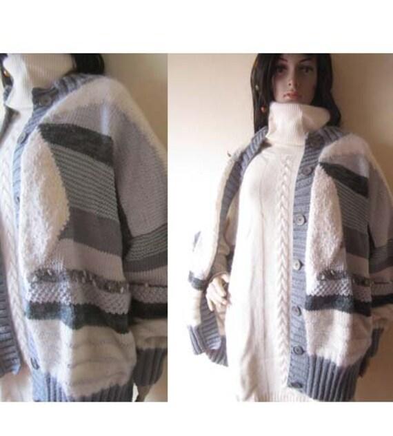 Vintage Handmade Wool Cardigan Strickjacke Oversi… - image 2