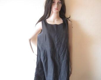 Vintage layered look dress linen dress 100% linen dress oversize maxi dress 44/L