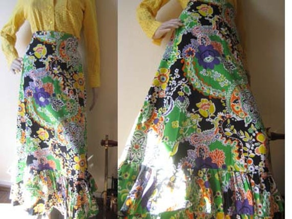 lovely green 70s skirt with two pockets size sm 70er Jahre Rock gonna anni 70