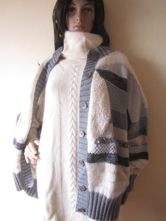 Vintage Handmade Wool Cardigan Strickjacke Oversi… - image 3