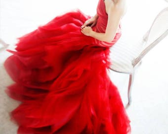 LS60/RedRose/Red trumpet weddingdress with ruffle rose skirt