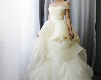 LS10/Katherine/ivory/3D weddingdress / Ballgown