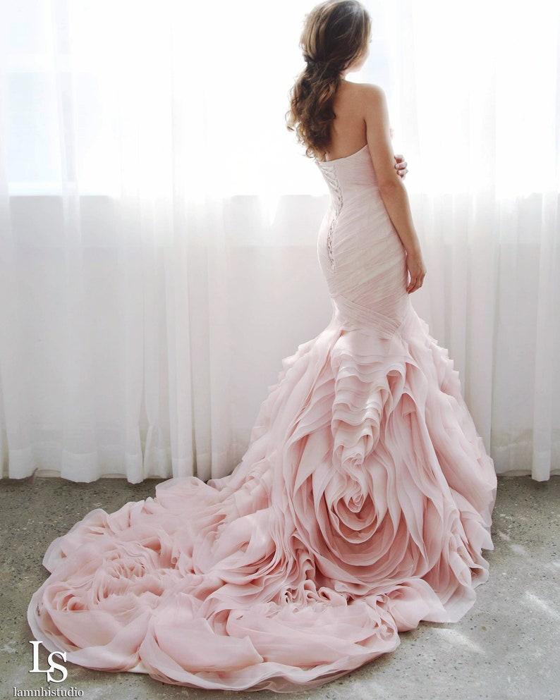 8cfe8cb907 LS16/pinkie/ blush pink mermaid wedding dress with ruffle rose skirt