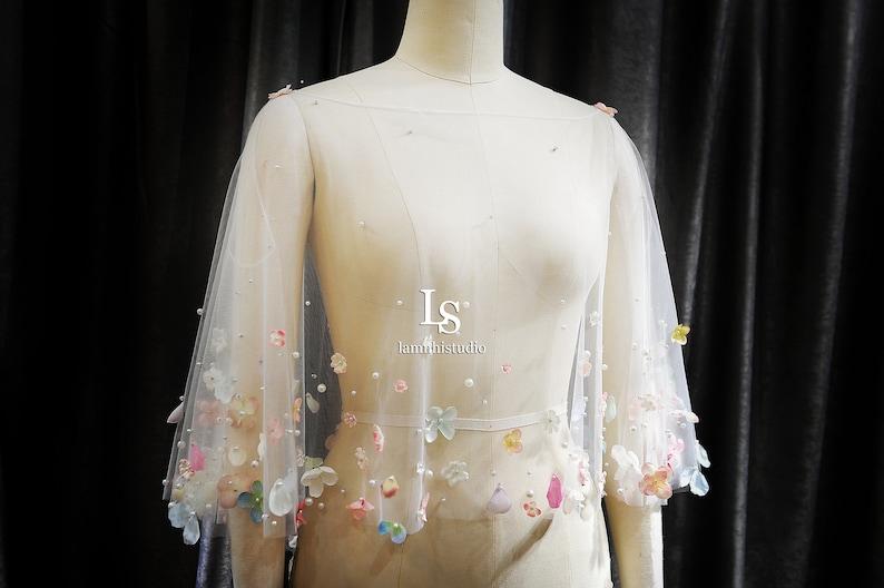 Bridal Bolero LS1303d flower cape bridal cape Bridal Cover Up Custom Wedding Cover Up Wedding cover up,Wedding Capelet Cape