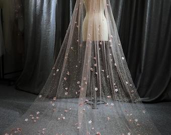Ls67/glitter veil/sparkle veil/ flower veil/chapel veil/custom veil