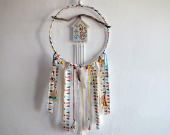 Catches dreams - dreamcatcher and its chime, driftwood, fabrics