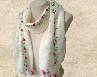SATIN NECK SCARF LIGHT WEIGHT ALL SEASON WEAR PEACE DESIGN COLOR BROWN