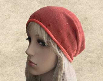 Slouchy beanie hats, Hippie slouch hats, Coral slouchy beanie, Womens slouchy hats, Oversised hats, Boho style beanie, Beanie for spring