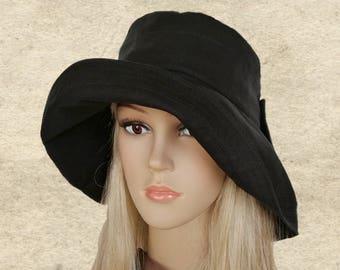 1cbe7dc4 Black cotton sun hat, Wide brim hats, Cotton floppy hats, Black travel hats,Black  fabric hats, Womens summer hats, Boho black hat,