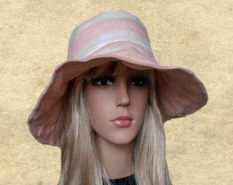 3388d10d Summer boho hats, Sun womens hats, Beach sun hats, Summer hats women, Pink  rose sun hat, Hats with wide brim, Fabric hats lady. SantiniStudio
