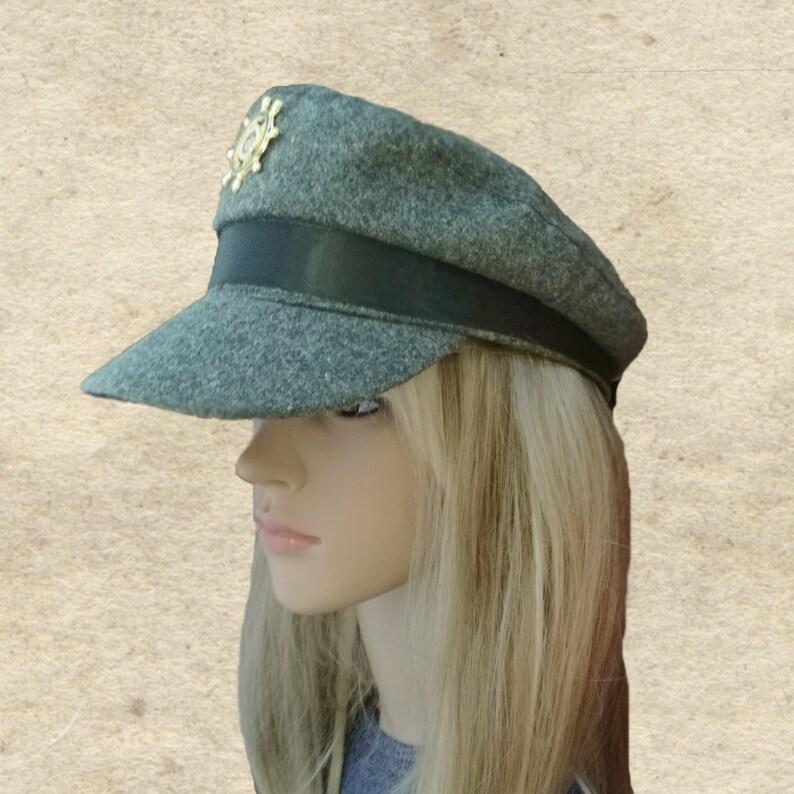 a6483e1131b Gray captain cap Women s trendy hat Gray newsboy hat