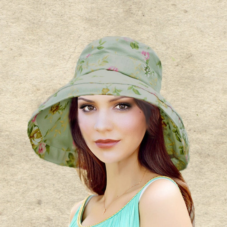 021f63c7655 Sun boho hats Womens cotton hat Bohemian sun hat Green sun