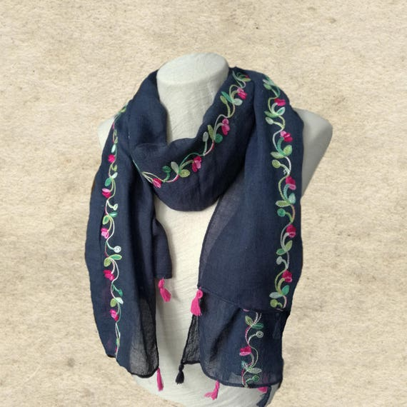 fa4a930895a Blue cotton scarves, Embroidered scarves, Fashion scarves, Womens trendy  scarf, Cotton shawl, Christmas gift, Women's gift, Gift for lady
