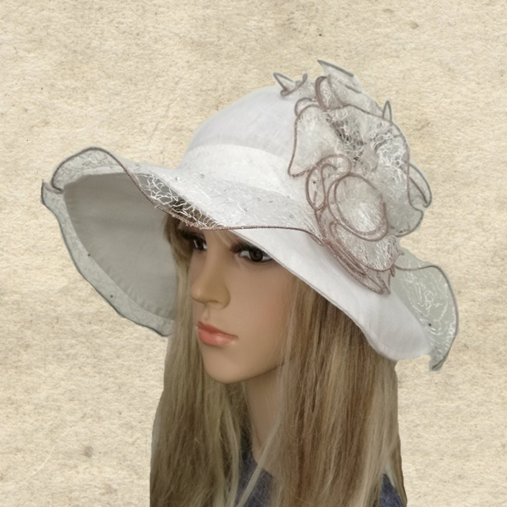 Ladies Acrylic Wide Brim Hat with Turn Up Summer Sun Hat