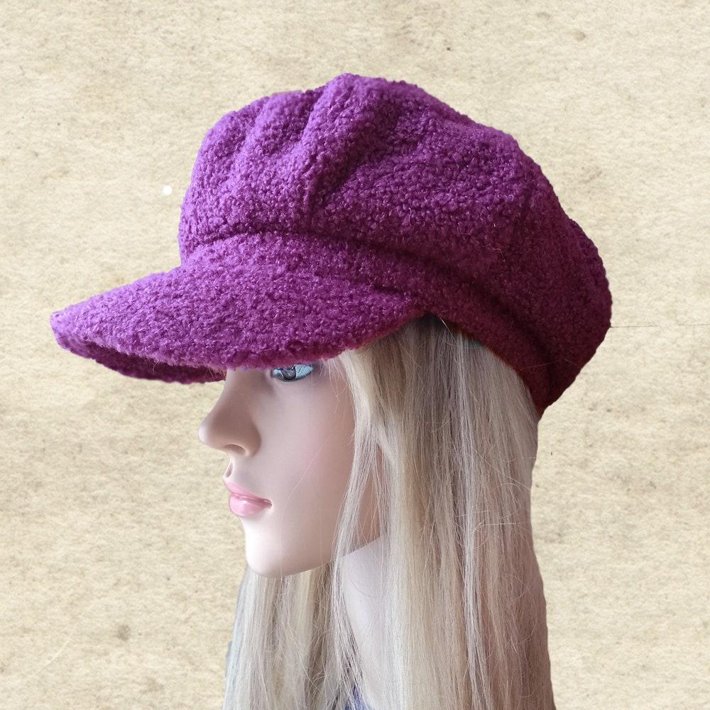 Purple winter hat Womens winter cap Winter visor cap Womans  5d768fd0dcd