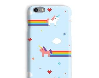 Pixel Art iPhone Case, Unicorn iphone 7 case, Rainbow iphone 6 case, Blue iphone 6 case, Funny iphone 7plus case, Cute iphone case