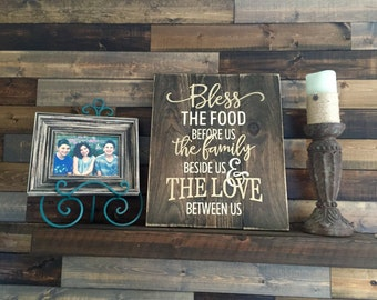 Bless food and family sign, Thanksgiving sign, Wood bless sign, Family sign, Bless food sign, Family and love sign