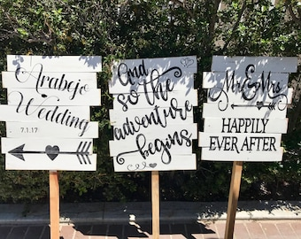 Wedding Directional Signs with stake