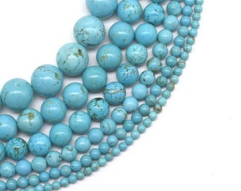 Turquoise Natural Gemstone 4mm Natural Arizona Turquoise round beads Blue Turquoise Round Beads 16 Strand Smooth Round Ball Beads