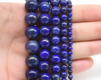 "Beautiful  Real 6mm Blue Egyptian Lazuli Lapis Gemstone Round Loose Beads 15/"" AA"