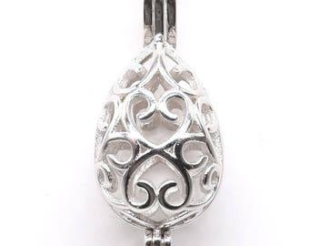 123469458350 Teardrop cage pearl pendant