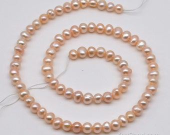 Natural pink pearls, 5-6mm small potato freshwater pearls, genuine natural loose pearl beads for making jewelry, pearl wholesale, FP300-PS