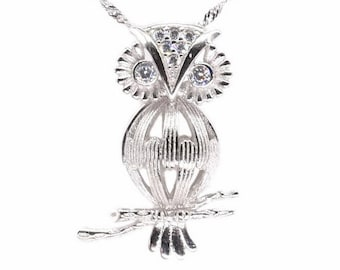 Sterling silver owl pendant, pearl cage necklace, wish pearl cage pendant charm, genuine pearl pendant, animal cage jewelry, F3055-P