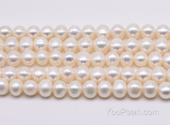 """Jewelry DIY Round 3A Perfect White Freshwater Pearl Beads Strand 15/"""" 9-10mm"""