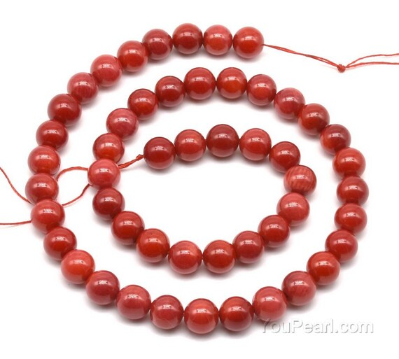 Coral Plain Tube Beads 4x8mm Red 50 Pcs Gemstones DIY Jewellery Making Crafts