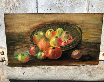 Vintage French Oil Painting on Board  Bowl of Apples Signed c1950s