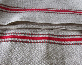 Long long bolt vintage French oatmeal red stripe linen torchon fabric UNUSED