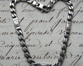 "Vintage 925 hallmarked solid silver heavy chain linked bracelet 11.3gr 7.3/4"" length"