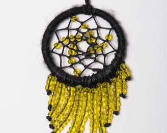 Yellow Beaded Dreamcatcher