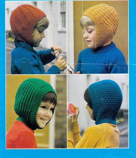 Child/'s Winter Balaclava Helmet Vintage Knitting Pattern Instant Download