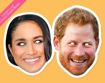 Royal Couple Photo Booth Props - Set with 2 Royal Couple masks in pdf, great for printing SALE