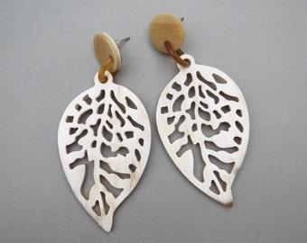 Leaf Earrings, Horn Earrings, White Earrings, Handcrafted Earrings, Chandelier Earrings, Statement Earrings, Christmas gift for women