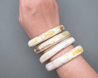 Buy 3 get 1 free - White Bracelets, Bangle Bracelet Set, Bracelet Set, Buffalo Horn Bracelet, Horn Jewelry, Bohemian Bracelet