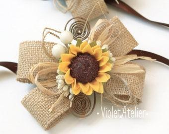 2 Sunflower Wedding Burlap Wrist Corsages, Rustic Wedding Bridesmaids Sunflower Bracelets, Mothers Sunflower Wrist Girl Accessories