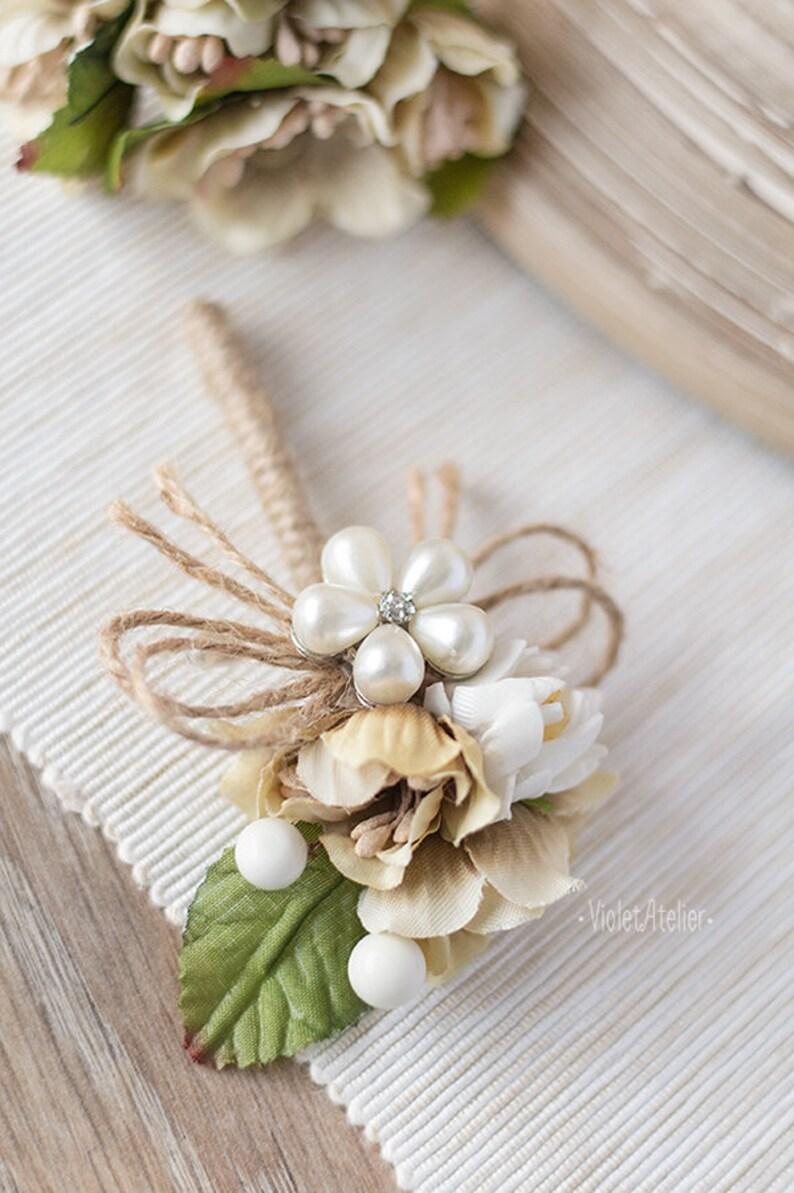 Pearl Crystal Groom Flower Brooch Pearl Flower Boutonniere Groom Wedding Flower Pin Mens Wedding Accessories Groomsmen Rustic Buttonhole