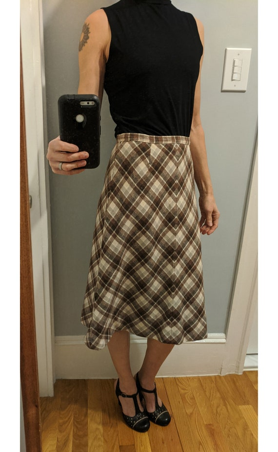 vintage oat linen blend midi skirt  pleated high-waisted calf length pendleton tweed style prairie skirt  cream tan beige retro boho