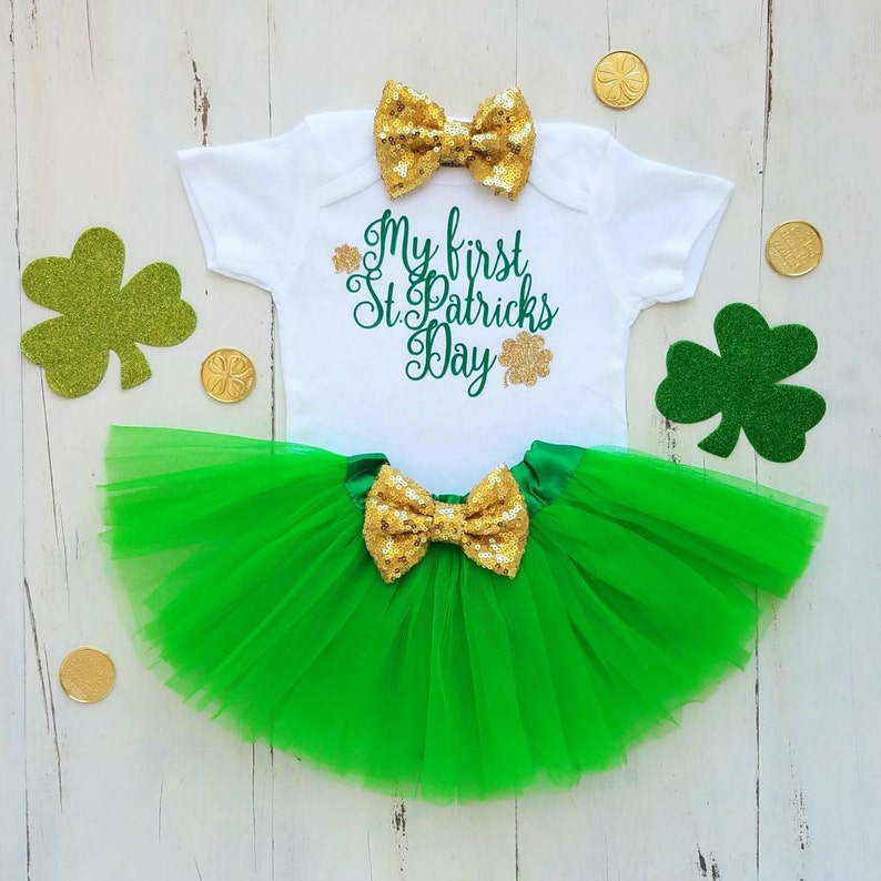 Baby girl St Patricks Day Outfit St Pattys Girl My 1st St Patricks Day Baby Girl Outfit St Patricks Day Outfit Baby girl clothes Baby onesie