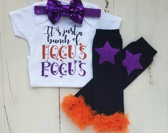 Halloween Outfit, Baby Girl 1st Halloween Outfit, Girl Halloween Onesie, Hocus Pocus, Baby girl clothes, Baby girl Halloween Outfit