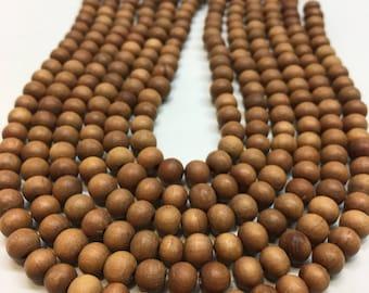 Sandalwood 8mm Pure Natural Untreated Sandalwood Beads, Polished Sandalwood Pack of 54 Beads