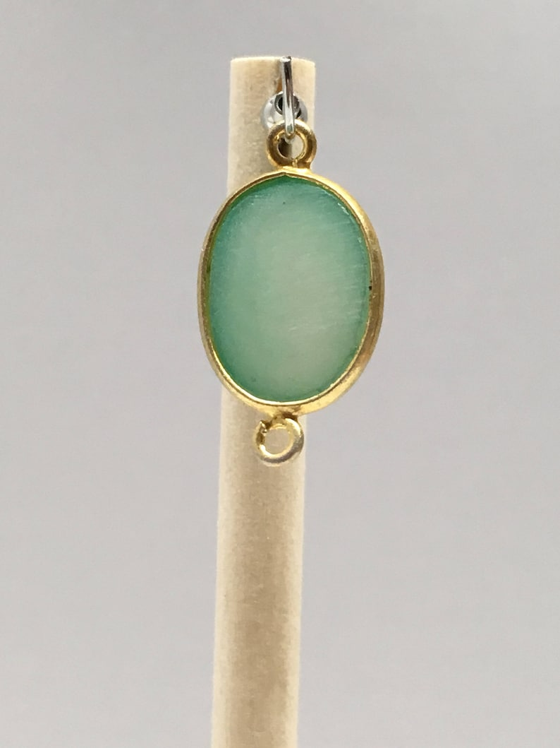 Gold Plated On Sterling Silver Oval Connector With Druzy Stone