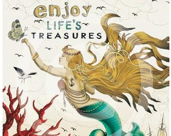 Mermaid art print, Mermaid Wall Art, Mermaid Prints, Coastal Art, Mermaid Artwork, Red Coral, Vintage Mermaid, Mermaid Quotes