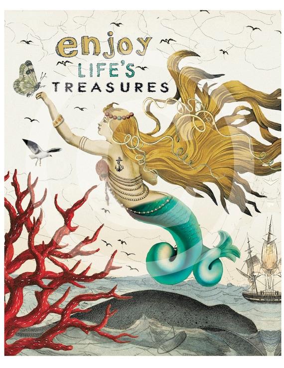 Mermaid Art Print Wall Prints Coastal