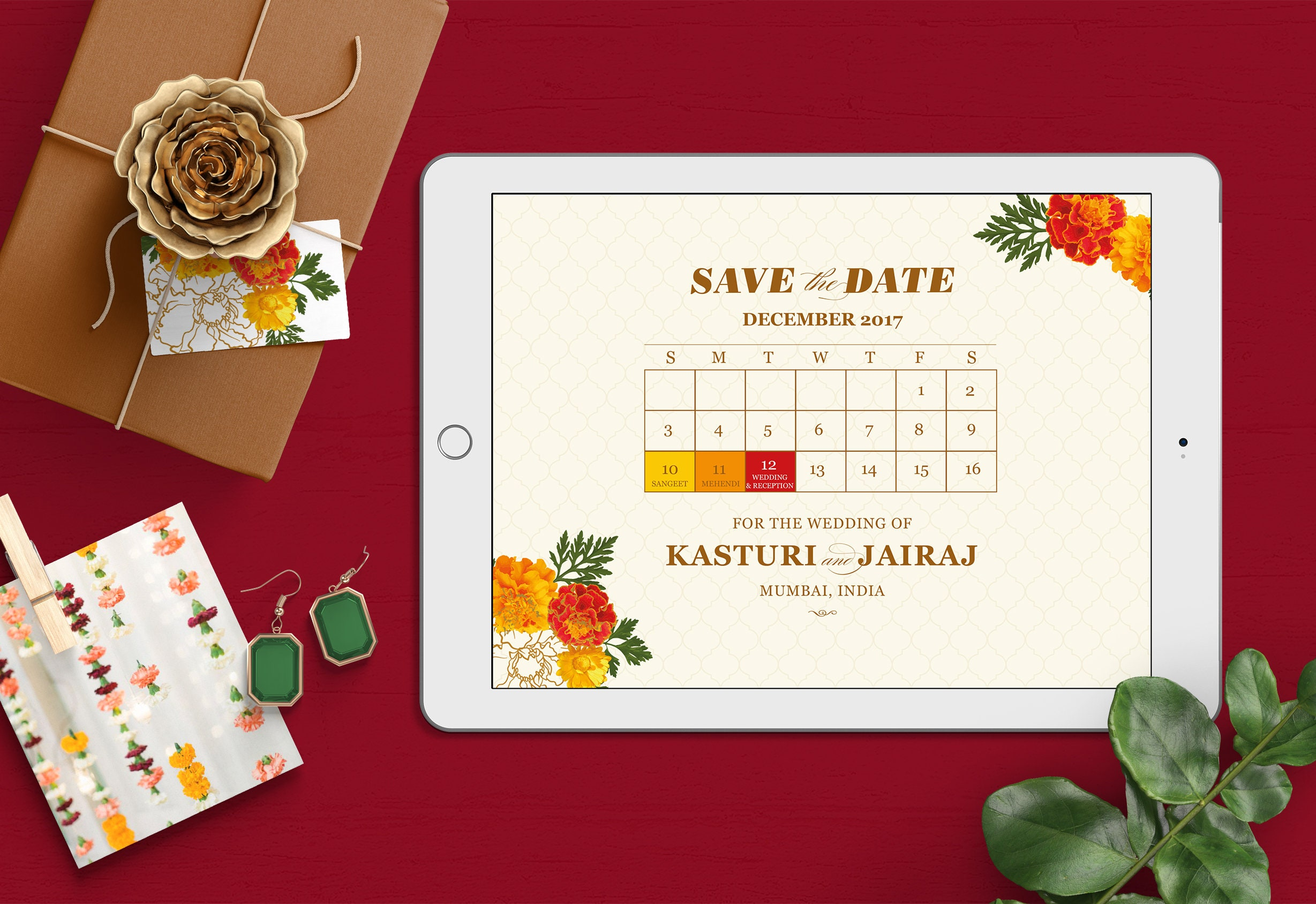 Digital Save the Date Marigold Brass Bell Indian Wedding | Etsy