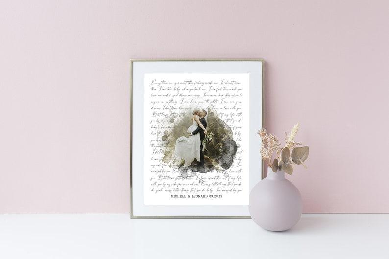 Wedding Anniversary Gift for Husband Wife Personalized Wedding Gift Wedding Vows Art Custom Lyric Print Song Lyrics Wall Art